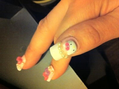 hello kitty false finger nails