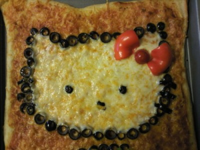 square Hello Kitty pizza with olives