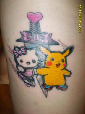 Hello Kitty Pikachu tattoo