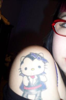 Hello Kitty Dracula tattoo