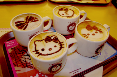 hello kitty faces on coffee