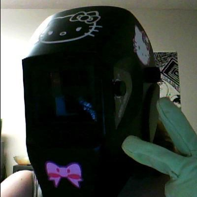 hello kitty welding helmet black
