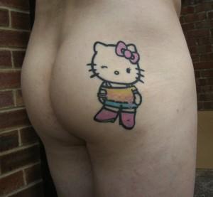 Hello Kitty butt tattoo