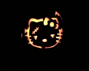 Hello Kitty Frankenstein pumpkin