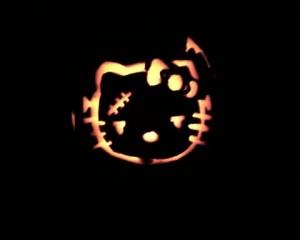 Hello Kitty Frankenstein pumpkin