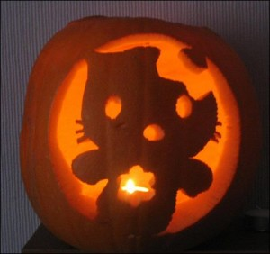Hello Kitty ghost pumpkin