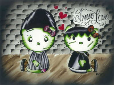 hello kitty Frankenstein painting