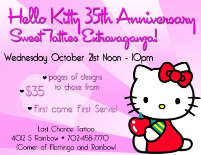 Hello Kitty anniversary tattoo promo