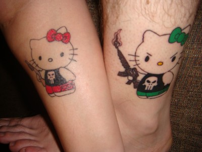 Hello Kitty Punisher tattoo