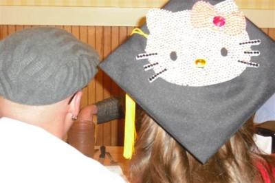 graduation cap featuring Hello kitty
