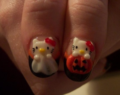 Hello Kitty ghost and pumpkin nails