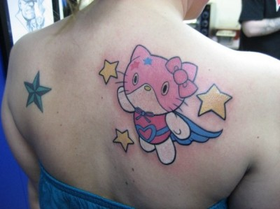 hello kitty super hero tattoo