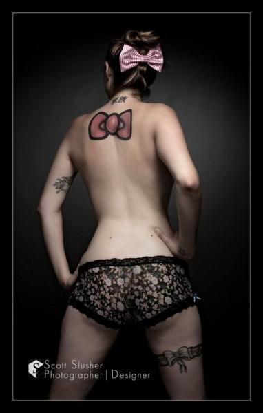 Hello Kitty big bow tattoo