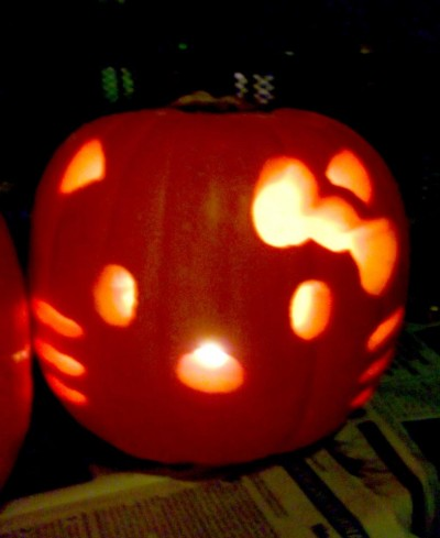 Halloween pumpkin with Hello Kitty face