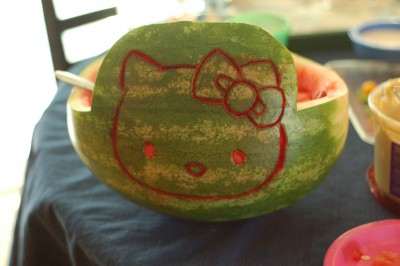 Hello Kitty watermelon carving
