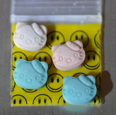 Ecstasy pills shaped as Hello Kitty