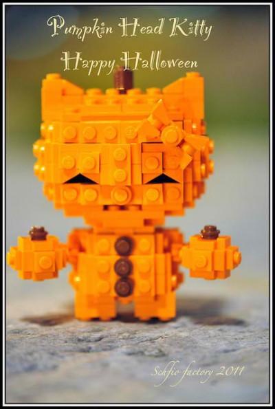 Hello Kitty Lego pumpkin head Halloween figure