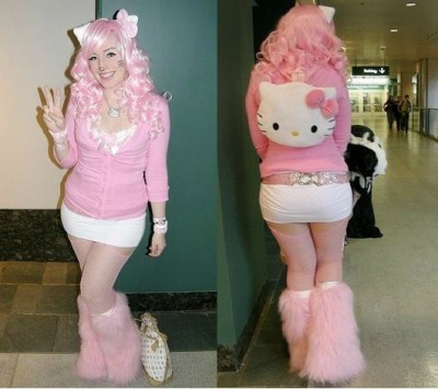 Hello Kitty pink Halloween costume front and back