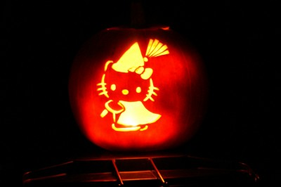 Hello Kitty witch Halloween pumpkin jack o latern