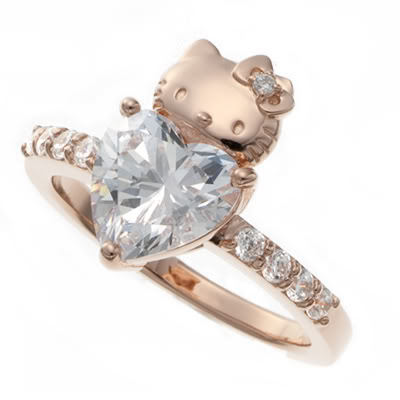 Hello Kitty gold diamond ring